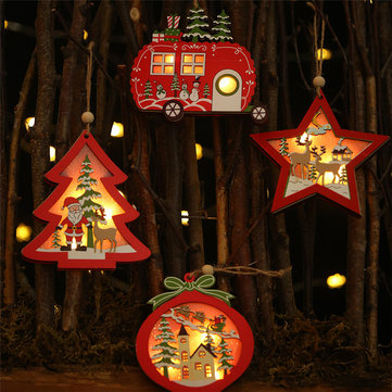 Loskii Christmas Star Wooden Pendants Ornaments Tree Decor Christmas Ornaments Hollow Wooden Pendant Creative Car Ornaments
