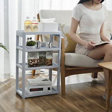 3/4 Layers Multi-use Storage Shelf Simple Floor Standing Storage Rack Living Room Bathroom Kitchen Rack Bookshelf Display Stand Compartment Shelf