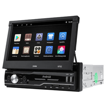 9702 7 inch 1 Din For Android 8.1 Car Radio Stereo MP5 Player 4 Core 1+16G bluetooth GPS Retractable Telescoptic Touch Screen Wifi AUX FM