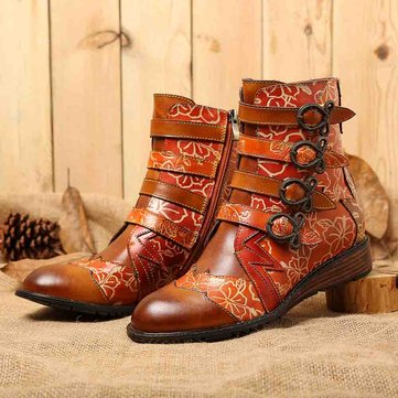 Socofy Women Retro Genuine Leather Stitching Metal Bow Buckle Mid-calf Boots