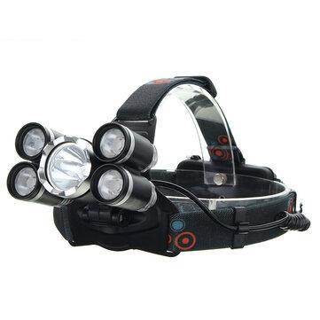 XANES® 7310-A 2500LM T6+4xXPE Headlamp 4 Modes 90° Adjustable Waterproof Work Light