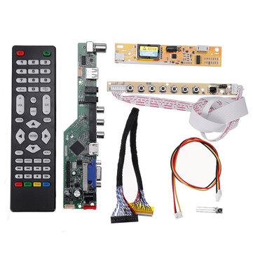 T.SK106A.03 Universal LCD LED TV-Controller-Treiberplatine TV / PC / VGA / HDMI / USB + 7 Tasten + 2-Kanal 6-Bit 30-polig LVDS Kabel + 1 Lampenwechselrichter