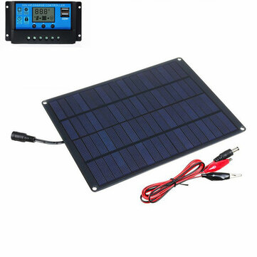 5.5W 12V Monocrystalline Silicon Solar Panel + 10A Solar Charge Controller Set for Battery Charge