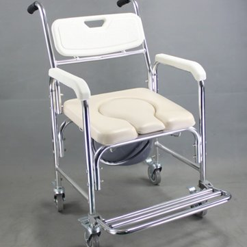 3 in 1 Aluminum Alloy Mobile Shower Bathroom Toilet Commode Chair Waterproof Rustproof Wheelchair