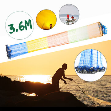 ZANLURE 3.6m 12FT Colorful Throw Hand Cast Fishing Net Spin Network Bait Fish Net+Sinker
