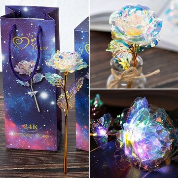 LED Galaxy Foil Rose Flower Valentine's Day Gift Romantic Crystals Rose With Box