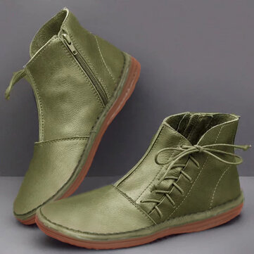 Women Bowknot Decoration Round Toe Side Zipper Ankle Casual Boots