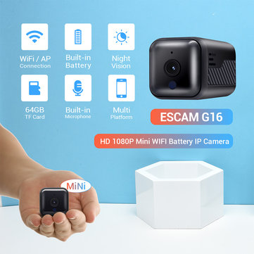 ESCAM G16 1080P Mini WiFi Night Vision Battery Camera with Audio Support AP Hotspot 64GB Card Video Recorder