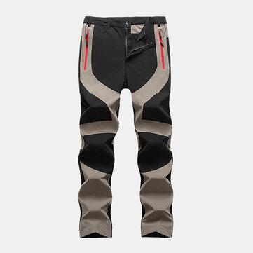 Mens Outdoor Elastic Windproof Zipper Pocket Straight Climbing Pants