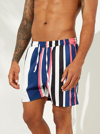 How can I buy Men Colorful Stripe Drawstring Hawaiian Board Shorts with Bitcoin