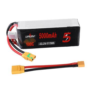URUAV 22.2V 5000mAh 100C 6S Lipo Battery XT90 Plug with XT90 to XT60 Adapter Cable for RC Drone