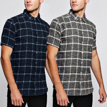 Men Short Sleeve Plaid Check Shirt Slim Fit Casual Formal Dress Shirts Top Blouse