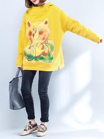 Plus Talla Mujer Sudadera con capucha amarilla Gato Gruesa