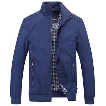 Casual Business Plus Size XS-5XL Pure Color Zipper Spring Autumn Jacket for Men