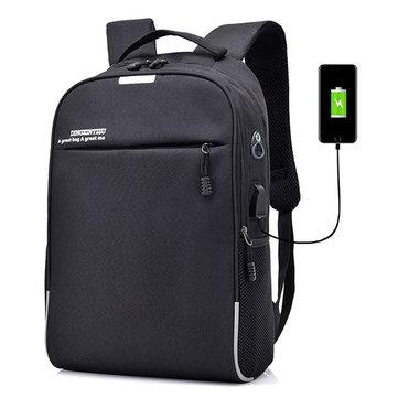 メンズコーディングロック 盗難防止 USB充電ラップトップバッグ ビジネストラベルバックパック