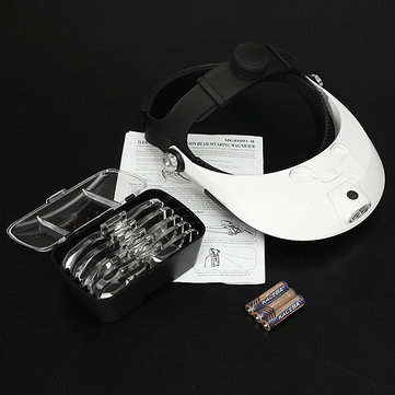 Headbrand LED Head Light Magnifier Magnifying Glass Loupe 5 Lens
