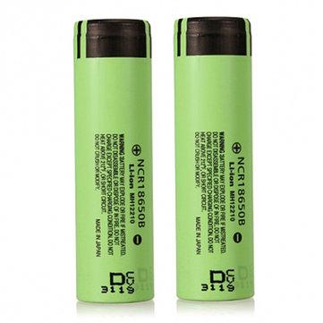 2pcs NCR18650B 3400mAH 3.7 V Unprotected Rechargeable Li-ion Battery