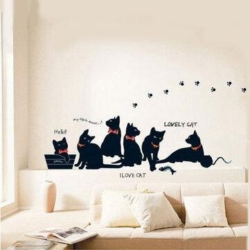 Decalque removível da parede da decoração do fundo da sala da etiqueta da parede da família de gato preto