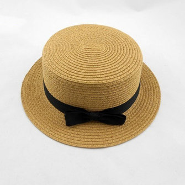 Women Fashion Large Brimmed Flat Top Black Bowknot Hat Straw Hat