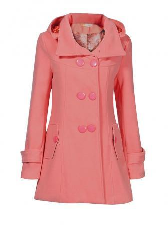 सुरुचिपूर्ण शरद ऋतु शीतकालीन हुड डबल ब्रेस्टेड पॉकेट ऊनी कोट