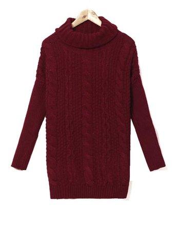 Zanzea Woman Turtleneck Cable Knitted Long Sleeve Sweater