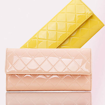 Women Quilted Patent Leather Wallet Long Design Wallet Clutch