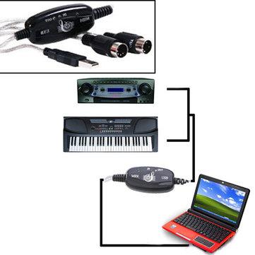 MIDI USB Cavo di Convertitore Adattatore PC a Tastiera Musicale