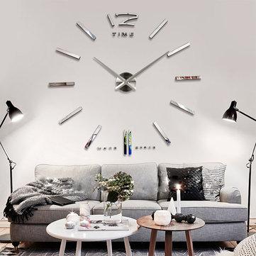 Big Large DIY Frameless Wall Clock Kit 3D Mirror Decoration Silver