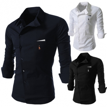 Mens Personality Oblique Buckle Casual Slim Fit Long Sleeve Shirt