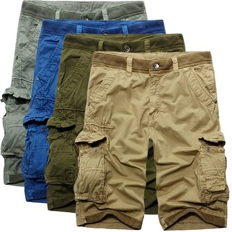 पुरुषों कपास फैशन आरामदायक लूज मल्टी जेब कार्गो शॉर्ट्स