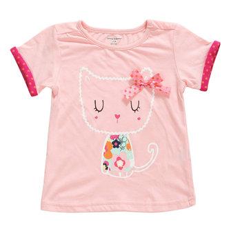 2015 नई छोटी मावेन गर्मियों में बेबी गर्ल बच्चों बिल्ली गुलाबी कपास लघु आस्तीन टी शर्ट टॉप