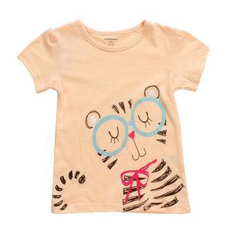 2015 नई लिटिल मेवेन लवली बिल्ली बेबी चिल्ड्रेन गर्ल कपास लघु आस्तीन टी शर्ट टॉप