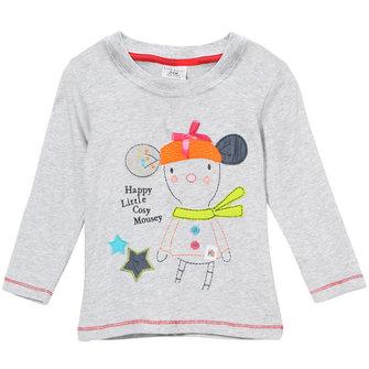 2015 नई लिटिल मेवेन ग्रीष्मकालीन बेबी गर्ल बच्चे कार्टून ग्रे कपास लंबी आस्तीन टी शर्ट