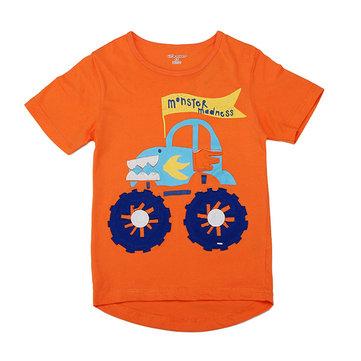 2015 नई लिटिल मेवेन ऑरेंज लवली कार बॉय कपास लघु आस्तीन टी शर्ट टॉप