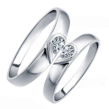 925 Sterling Silver Crystal Diamante Heart Couple Engagement Rings