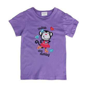 2015 नई ग्रीष्मकालीन बेबी गर्ल बच्चे बंदर बैंगनी कपास लघु आस्तीन टी शर्ट