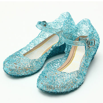 Buy Frozenly Elsa Princess Crystal Hole Sandals Girls Cosplay Girl Shoes Blue with 7 on Gipsybee.com