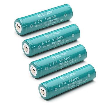 4 Pezzi MECO 3,7V 4000mAh Batteria 18650 agli Ioni di Litio Li-ion Ricaricabile con Protezione