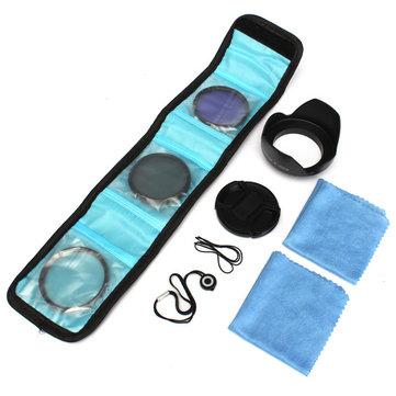 58mm UV FLD CPL Kit de filtro polarizador circular con Lente capucha para Canon Cámara