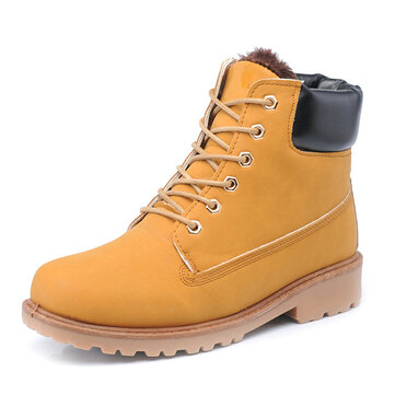 New Men Ankle Short Boots Thicking Keep Warm Plush Fashion Winter Boots Casual Flat Shoes