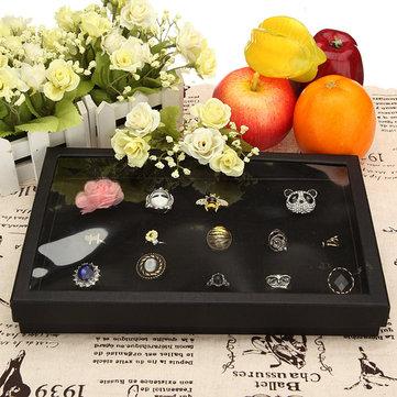 100 Slot Black Velvet Trang sức Ring Case Hiển thị Cửa hàng Lưu trữ Hộp Khay Sắp xếp